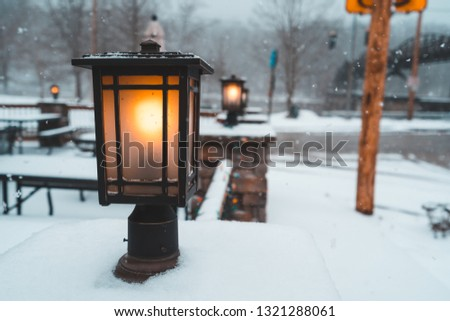 Picture of light post in the snow. Perfect for blogs. Weather channel. Outdoor companies. Advertisements. News
