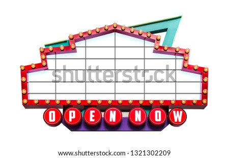 Retro showtime sign isolated on white background, include clipping path of remove or change background #1321302209