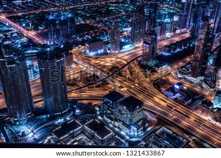 Dubai / UAE - February 2019: Dubai cityscape at Magic Hour. Dubai is the largest and most populous city in the United Arab Emirates. #1321433867