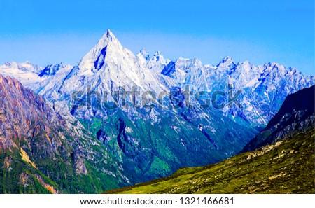 Mountain peak snow landscape. Mountain peak snow. Peak snow mountains. Mountain peak snow view #1321466681
