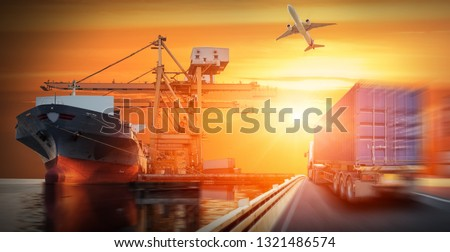 Container truck in ship port for business Logistics and transportation of Container Cargo ship and Cargo plane with working crane bridge in shipyard, logistic import export and transport industry #1321486574