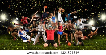 Huge multi sports collage taekwondo, volleyball, tennis, soccer, basketball, football, bodybuilding, etc #1321571519