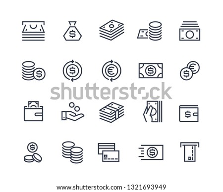 Money line icons. Business payment money market commercial exchange. Cash card wallet and coins vector symbols #1321693949