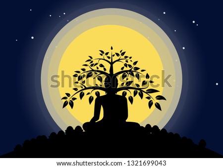 Night fullmoon Buddhist holyday Biddha sit under bodhi tree in silhouette concept. #1321699043
