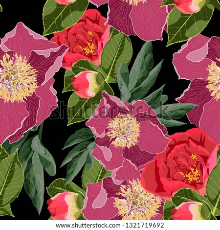 Spring marriage blossom floral seamless pattern. Vintage background. Wallpaper. Blooming realistic bright peony flowers and leaves. Hand drawn.