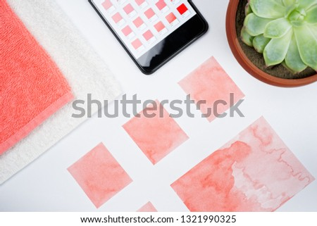 Flat lay red collage. #1321990325