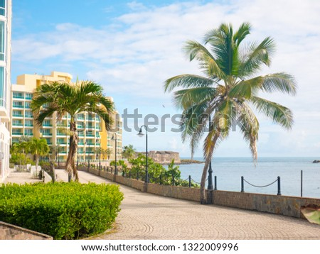 Great view of the sea on a beautiful windy day at Condado beach, San Juan, Puerto Rico #1322009996