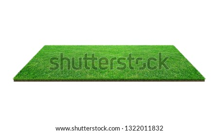 Green grass field isolated on white with clipping path. Artificial lawn grass carpet for sport background. Background for landscape, park and outdoor. #1322011832