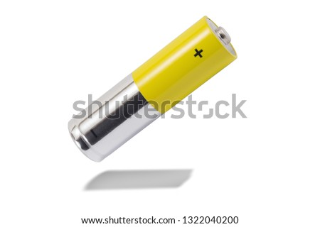 alkaline batteries and a yellow metal AA-size batteries isolated on white background closeup, carbon zinc batteries, rechargeable batteries, mockup #1322040200