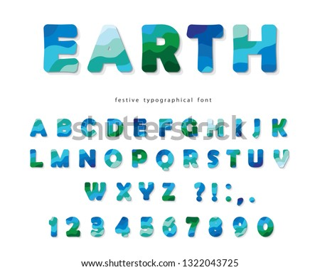 Earth landscape modern font. Blue and green ABC letters and numbers isolated on white. Creative alphabet for environment, ecology, travel design. Vector #1322043725