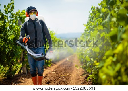 Agriculture worker. Young farmer spraying pesticides. Taking care about vineyard. #1322083631