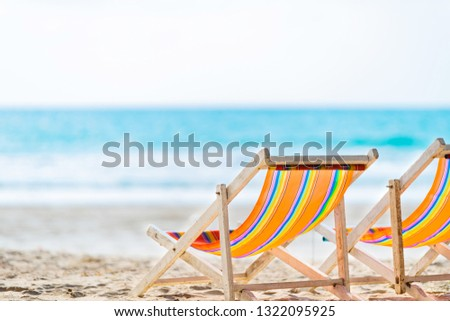 Chair beach for relaxation at the tropical beach #1322095925