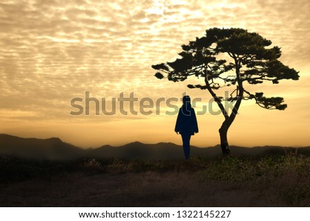The Girl and the Landscape of the Pine #1322145227