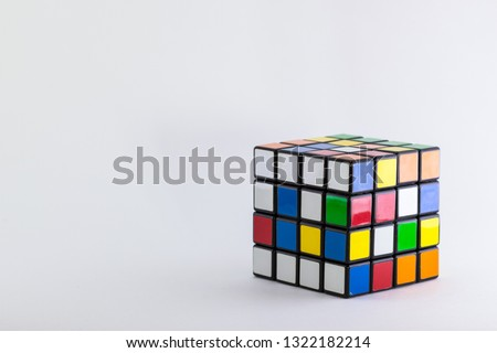4x4 cube unsolved and scrambled on a plain white background #1322182214