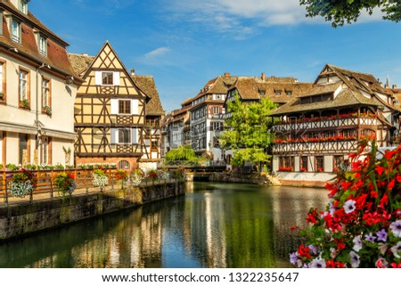 Little France (La Petite France), a historic quarter of the city of Strasbourg in eastern France. Charming half-timbered houses. Famous Maison de Tanneurs house. #1322235647