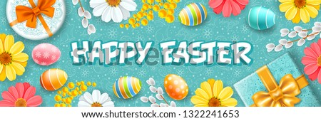Greeting design for Easter holidays. Cute gifts, colored eggs, willow branches and spring flowers create a festive cheerful mood. Doodle easter elements on turquoise background. Vector illustration. #1322241653