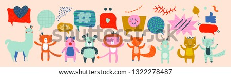 Animal Characters Having a Discussion About Event or Meeting. Business Discussion Social Network Illustrated with Animals. Projects, News, Media, Social Network, Chat, Dialogue, Speech Bubbles #1322278487