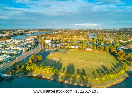Varsity Lakes suburb at sunset. Gold Coast, Queensland, Australia - aerial landscape #1322319185