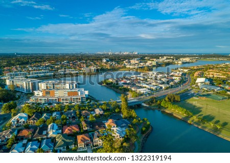 Aerial view of luxury real estate of Varsity Lakes suburb on Gold Coast, Queensland, Australia #1322319194