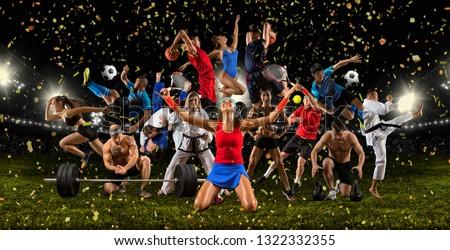 Huge multi sports collage taekwondo, tennis, soccer, basketball, football, bodybuilding, etc #1322332355