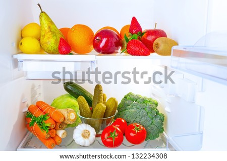Fridge full of healthy fruits and vegetables #132234308