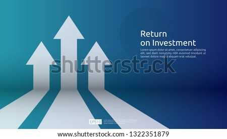 business arrow target direction concept to success. Finance growth vision stretching rising up. banner flat style vector illustration. Return on investment ROI. chart increase profit Royalty-Free Stock Photo #1322351879