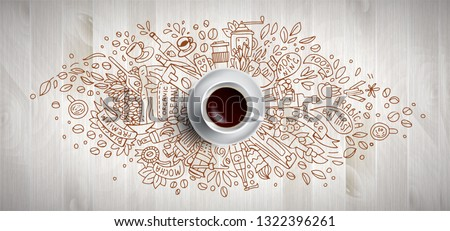 Coffee concept on wooden background - white coffee cup, top view with doodle illustration about coffee, beans, morning, espresso in cafe, breakfast. Morning coffee vector illustration. Hand draw and #1322396261