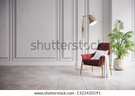 Modern mid century and minimalist interior of living room,vintage red armchair with gold lamp in white room ,3d render #1322420591