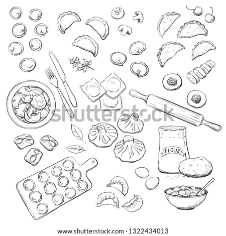 Vector collection of kinds of dumplings. Hand drawings on white background #1322434013