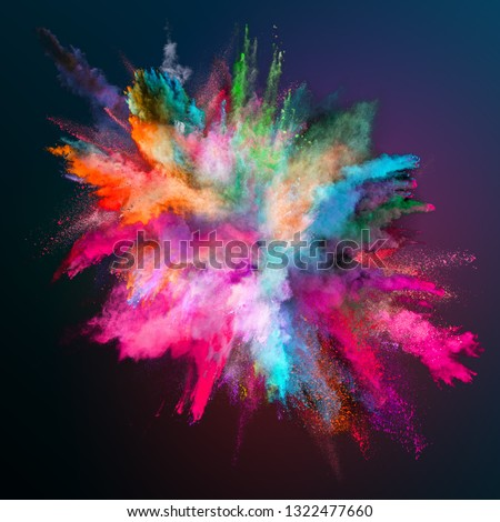 Colored powder explosion on dark gradient background. Freeze motion. #1322477660