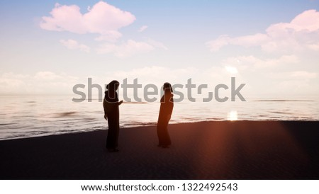 Two women in hijabs talking to each other by the ocean 3d render #1322492543