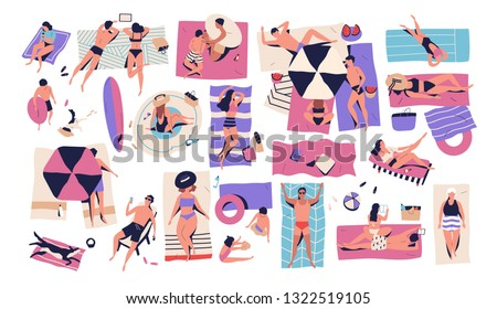 People lying on towels or blankets on beach or seashore and sunbathing, reading books, talking. Men, women and children relaxing at summer resort. Recreational activities. Flat vector illustration. #1322519105