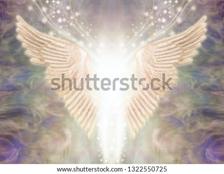 Angelic Light Being - Pair of Angel Wings with bright white light between and a stream of glittering sparkles flowing upwards against an ethereal gaseous energy formation background   Royalty-Free Stock Photo #1322550725