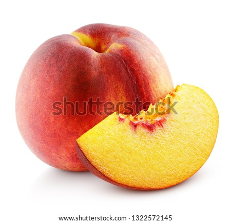 Ripe whole peach fruit with slice isolated on white background with clipping path. Full depth of field. #1322572145