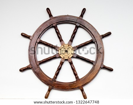 Steering wheel to steer the boat. #1322647748