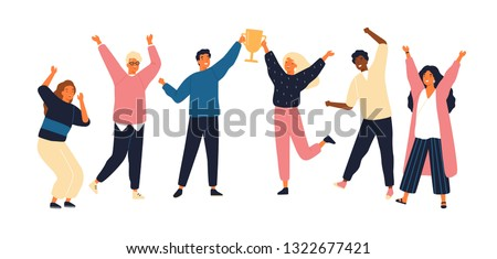 Group of young joyful people with champion cup isolated on white background. Happy positive men and women celebrating victory and rejoicing together. Successful teamwork. Flat vector illustration. #1322677421