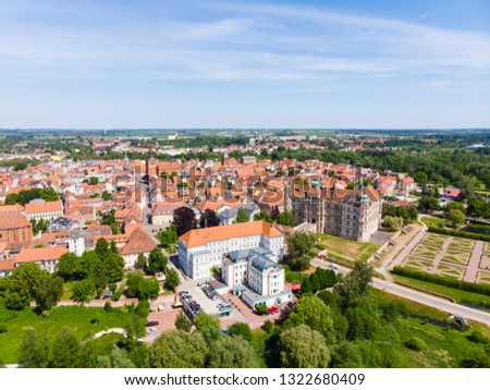 Germany, Mecklenburg-Western Pomerania, Güstrow, Rostock district, Mecklenburg Lake District, aerial view,  Castle, Cathedral,  District Court, #1322680409