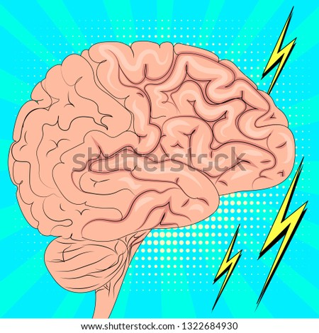 The human brain is actively working. Pop art background. Imitation of comics style. Raster illustration