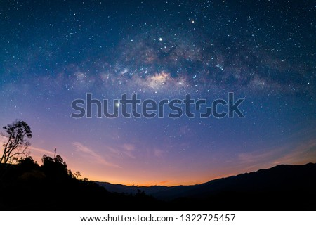 The Milkyway Galaxy Rise. Photo contain grains, blur and noise due to long exposure photography.