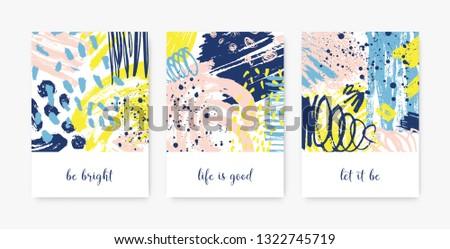 Bundle of decorative card templates with motivational phrases or messages and abstract stains, blots, brushstrokes, scribble, paint traces. Stylish vector illustration in contemporary art style. #1322745719