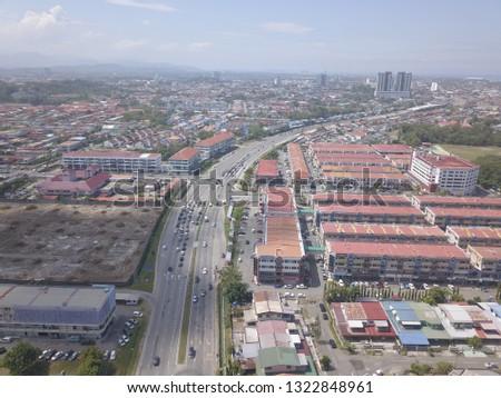 Kota Kinabalu Sabah, Malaysia - February 25, 2019: Sky view of Jalan Lintas, Kota Kinabalu, Sabah.Malaysia.Borneo. Asia.  #1322848961
