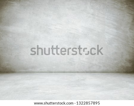 Empty concrete room and floor background, Perspective grey gradient concrete room for interior background, backdrop,  Gray grunge cement room with space for product display mockup, template #1322857895
