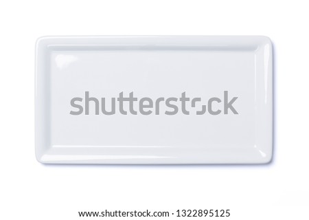 Empty white cornered plate isolated on white background, view directly from above, clipping path included #1322895125