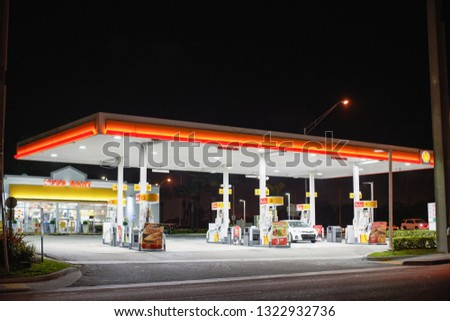 MIAMI - FEBRUARY 24, 2019: Photo of a gas station at night #1322932736