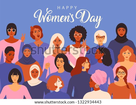 Female diverse faces of different ethnicity poster. Women empowerment movement pattern. International women´s day graphic in vector. Royalty-Free Stock Photo #1322934443