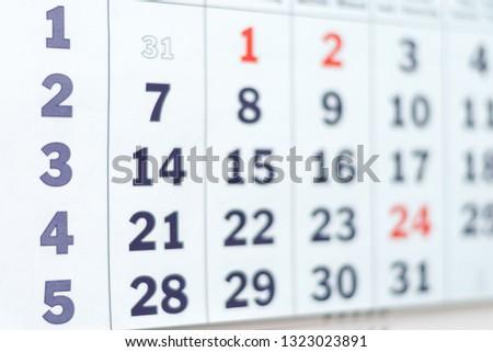 Blurred calendar abstract #1323023891