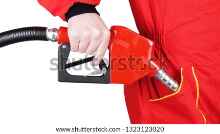 Man gas station staff  is fueling pocket with gasoline pistol pump fuel nozzle #1323123020