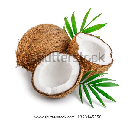 coconut with leaves isolated on white background #1323145550