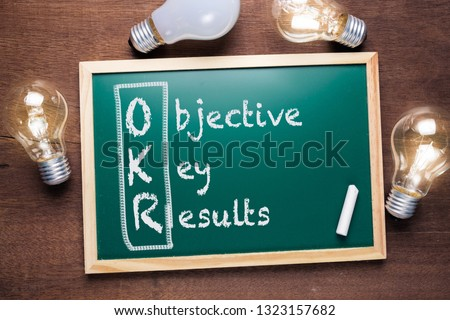 OKR or Objective Key Results acronym text on chalkboard with many glowing light bulbs #1323157682