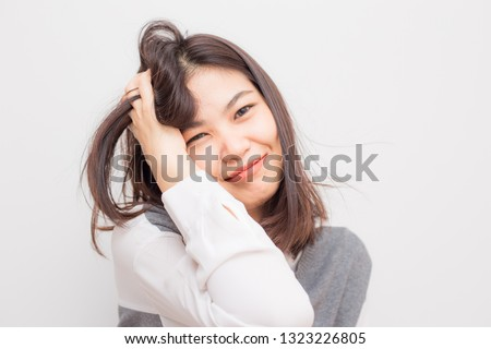 Beautiful smiling asian cute women post on white background, Wellness women #1323226805